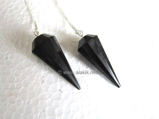 Picture of Black Tourmaline 12 Faceted pendulum