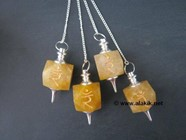 Picture of Golden Quartz Solar Plexus Chakra Engrave Pendulum