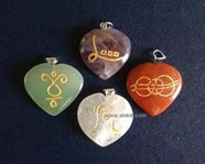 Picture of Rainbow Reiki heart Pendant set