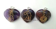 Picture of Amethyst Reiki 1 & 2 Heart Pendant Set