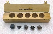 Picture of Smokey Quartz 5pcs Geometry Set with Wooden Box