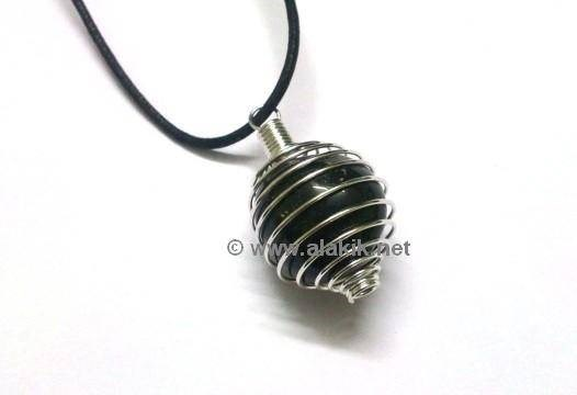 Picture of Black Tourmaline Tumble Spring Cage Pendant
