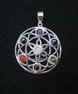 Picture of Chakra Flower of Life Metal Pendant