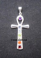 Picture of Chakra Ankh Metal cut stone Pendant