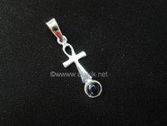 Picture of 925 Silver Ankh with Garnet Pendant