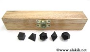 Picture of Black Toumaline 5pcs Geometry set with wooden box