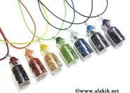 Picture of 7 chakra bottle pendant set with colourful cords