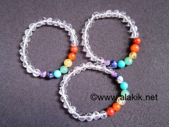 Picture of Crystal 7 chakra beads elastic bracelet