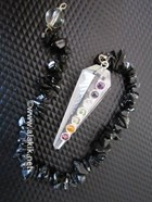 Picture of Crystal Quartz Pendulum with chakra cabs BT chain