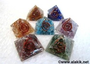 Picture of 7 Chakra Baby Orgone Pyramid set 20-25mm