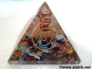 Picture of Chakra Orgone Pyramid with crystal point & copper wire