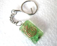Picture of Green rectangle orgone key ring