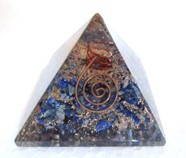 Picture of Lapis Lazule Orgone Pyramids With Copper Wrapped Point