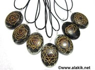 Picture of Engrave Chakra Black Tourmaline Orgone Oval Pendant Set