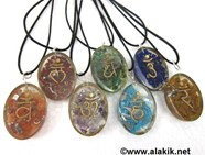 Picture of Chakra Sanskrit Orgone oval pendant set