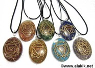 Picture of Engrave Chakra Orgone Oval Pendant Set