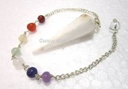 Picture of Scolecite Faceted pendulum with chakra chain