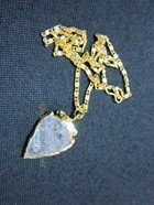 Picture of Crystal quartz Gold Bezel Arrowhead necklace