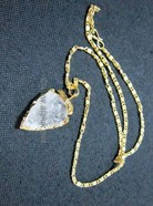 Picture of Crystal Quartz Gold Bezel Arrowheads pendant with chain