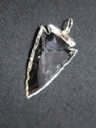 Picture of Black obsidian silver electro plated arrowhead pendant