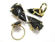 Picture of Black Obsidian Arrowhead Finger Ring