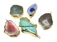 Picture of Mix Agate Electroplated Golden Slice Pendant