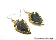 Picture of Moss Agate Eletroplated Arrowhead Earrings