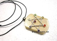 Picture of Chakra Pentacle Wooden Pendant