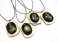 Picture of Black Agate Usai Reiki Engrave Wooden pendant Set