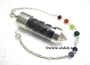 Picture of Blue Jade Chips Chamber Pendulum with chakra chain