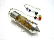 Picture of Citrine Chips Chamber pendulum with chakra chain