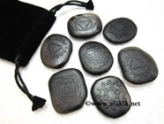 Picture of Black Obsidian Chakra Emboss set with pouch