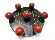 Picture of Pentagram Grid Disc with Red Jasper Balls