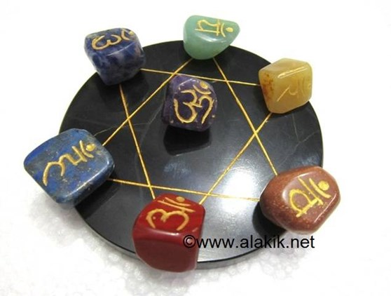 Picture of Pentagram Grid Disc with Chakra Sanskrit Tumble Set