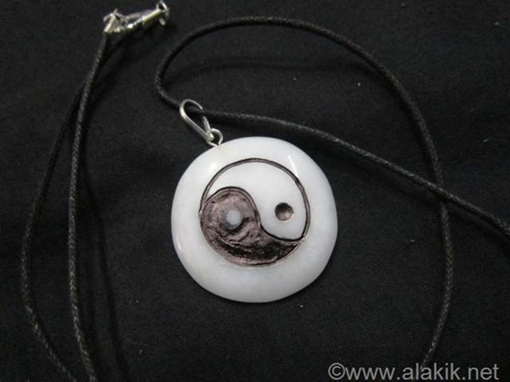 Picture of Snow Quartz Engrave YinYang Pendant with cord