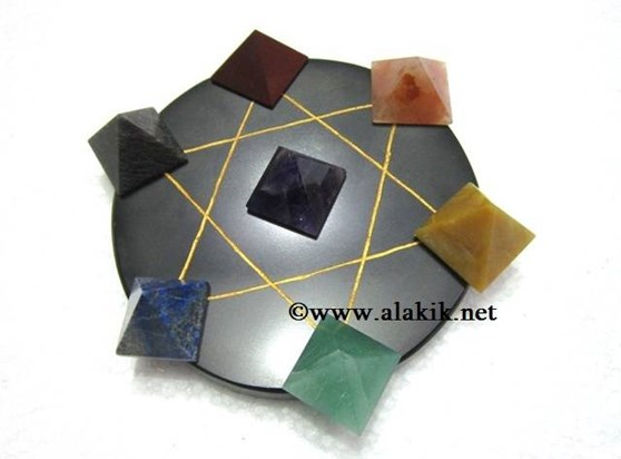Picture of Pentagram Grid Disc with Chakra Pyramid Set