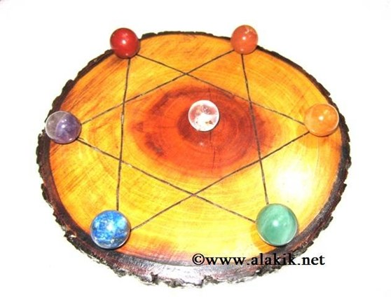 Picture of Engrave Pentagram Wooden Disc with Chakra Ball Set