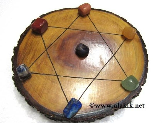 Picture of Engrave Pentagram Wooden Disc with Chakra tumble