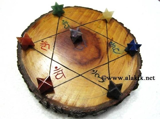 Picture of Engrave Sanskrit Wooden Disc with chakra Merkaba Star Set