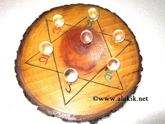 Picture of Engrave Sanskrit Wooden Disc with Crystal Balls