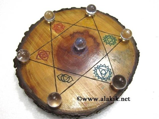 Picture of Engrave Chakra Wooden Disc with Crystal Ball Set