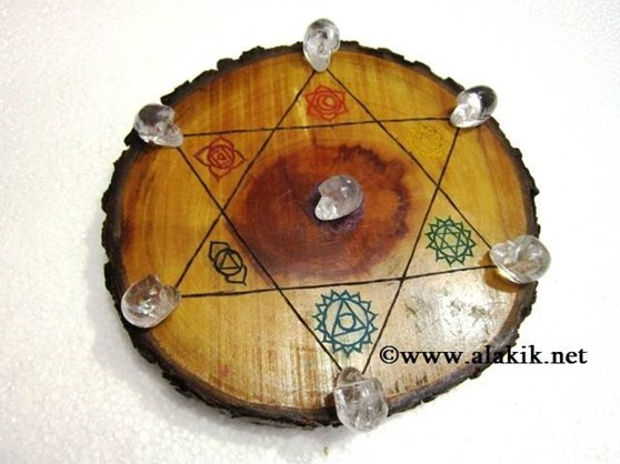 Picture of Engrave Chakra Wooden Disc with Crystal Skulls