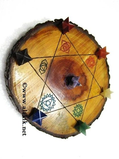 Picture of Engrave Chakra Wooden Disc with Merkaba Star
