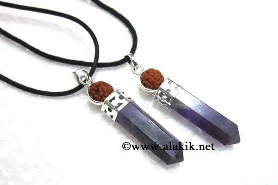 Picture of Amethyst Rudraksha 2pc Cap Pencil with cord