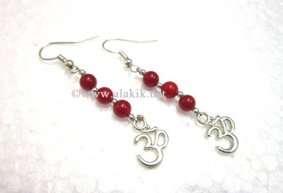 Picture of Coral Beads Om Earring