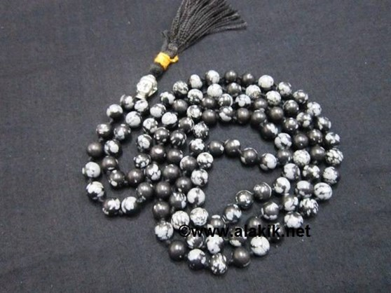 Picture of Snowflake Obsidian Netted Buddha Jap Mala
