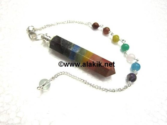 Picture of Bonded Chakra Pencil Pendulum with chakra chain