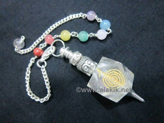 Picture of Crystal Quartz Hexagon Choko Reiki pendulum with Buddha Head chakra chain