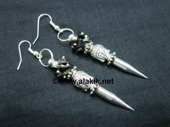 Picture of Black Tourmaline Buddha bullet Point Earring