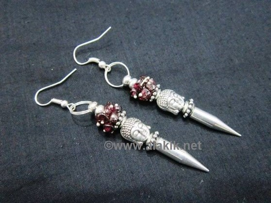 Picture of Garnet Buddha bullet Point Earring